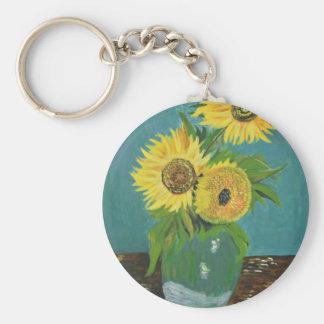 Chaveiro Três girassóis em um vaso, Van Gogh