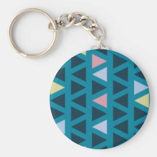 Chaveiro Triângulos com amor azul e cor-de-rosa