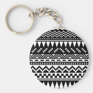 Chaveiro Tribal asteca preto e branco