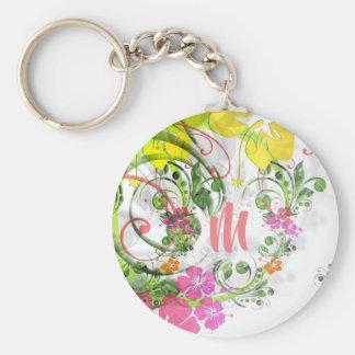 Chaveiro tropical do monograma do hibiscus