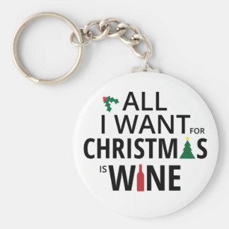 Chaveiro Tudo que eu quero para o Natal é vinho - humor do
