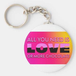 Chaveiro Tudo que você precisa é amor ou mais chocolate