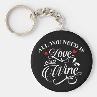 Chaveiro Tudo que você precisa é quadro do amor e do vinho