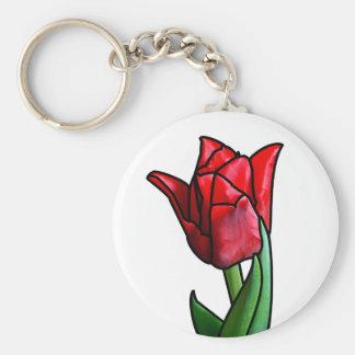 Chaveiro Tulipa vermelha exótica do vitral