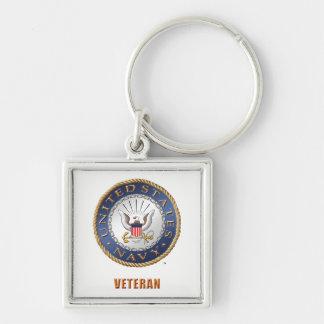 Chaveiro U.S. Quadrado do prêmio do veterano do marinho