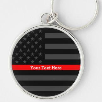 Chaveiro Uma linha vermelha fina bandeira dos E.U.