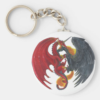 Chaveiro Unicórnio preto do fogo e dragão vermelho