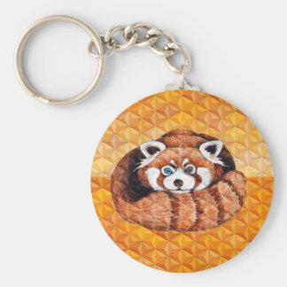 Chaveiro Urso de panda vermelha no Cubism alaranjado