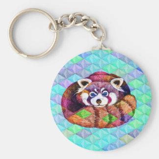 Chaveiro Urso de panda vermelha no cubism de turquesa