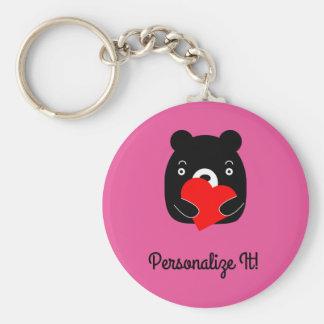 Chaveiro Urso preto que guardara um coração