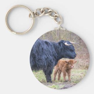 Chaveiro Vaca escocesa preta da mãe do escocês com