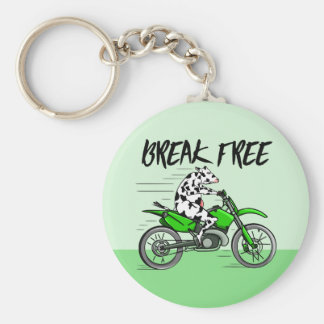 Chaveiro Vaca que monta uma bicicleta verde da cruz do