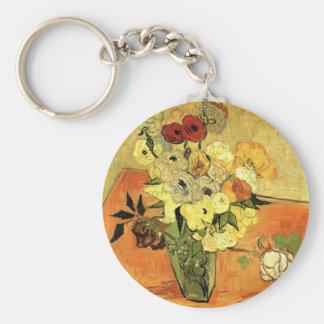 Chaveiro Vaso japonês de Van Gogh com rosas e anêmonas