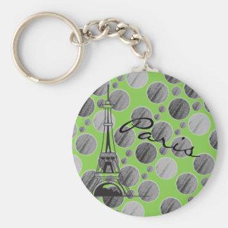 Chaveiro verde do círculo do ponto de Paris