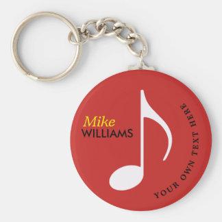 chaveiro vermelho do símbolo de música com nome