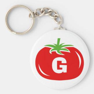 Chaveiro vermelho do tomate do monograma conhecido