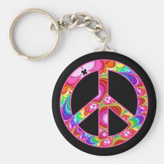 Chaveiro Viagem Groovy do Fractal do sinal de paz
