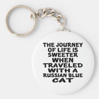 Chaveiro Viajado com o gato azul do russo