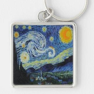 Chaveiro Vincent van Gogh - noite estrelado - corrente