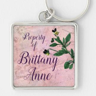Chaveiro Viola botânica cor-de-rosa empoeirada do vintage