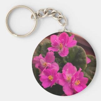 Chaveiro Violetas africanas cor-de-rosa