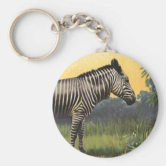 Chaveiro Zebra no savana africano, animal selvagem do