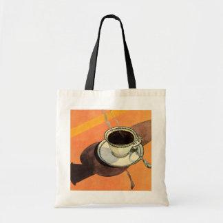 Chávena de café do vintage, pires, colher com sacola tote budget