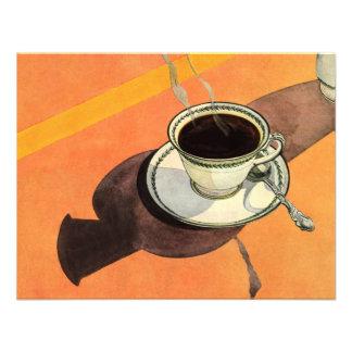 Chávena de café do vintage, pires, colher com somb convite