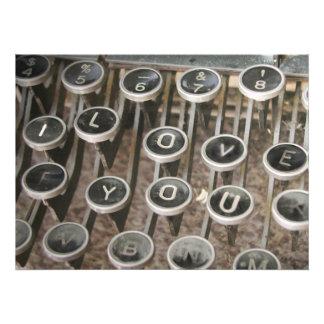Chaves da máquina de escrever do vintage eu te am convite personalizados