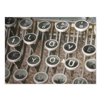"""Chaves da máquina de escrever do vintage """"eu te convite 13.97 x 19.05cm"""