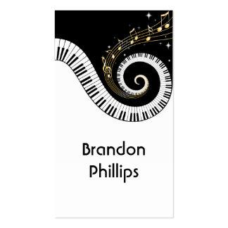 Chaves do piano e notas da música do ouro cartões de visitas