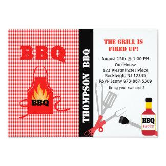 Checkered ateie fogo acima ao convite do CHURRASCO