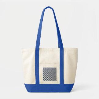 Checkered branco azul náutico bolsa tote