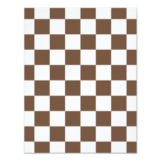 Checkered - branco e café convite 10.79 x 13.97cm