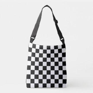 Checkered preto e branco bolsa ajustável