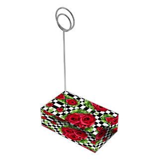 Checkered Rockabilly do amor floral do buquê das Suporte Para Cartao De Mesa