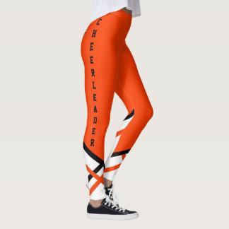Cheerleader alaranjado, branco e preto leggings