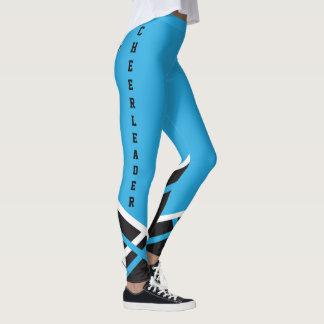 Cheerleader do azul bebé, o branco e o preto leggings