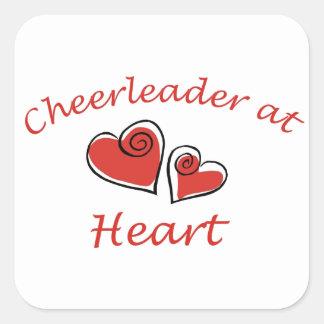 Cheerleader no coração adesivo quadrado
