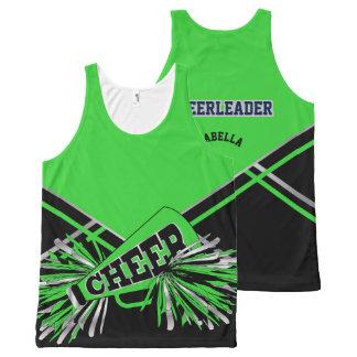 Cheerleader - verde, prata e preto regata com estampa completa