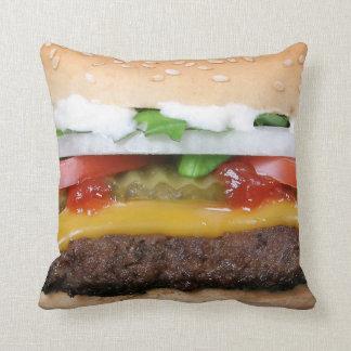 cheeseburger delicioso com fotografia das almofada