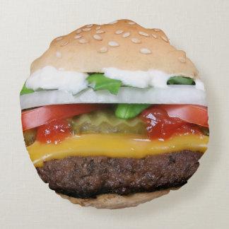 cheeseburger delicioso com fotografia das almofada redonda
