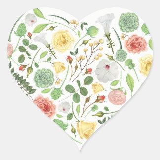 Cheio bonito do coração de flores coloridas do adesivo coração