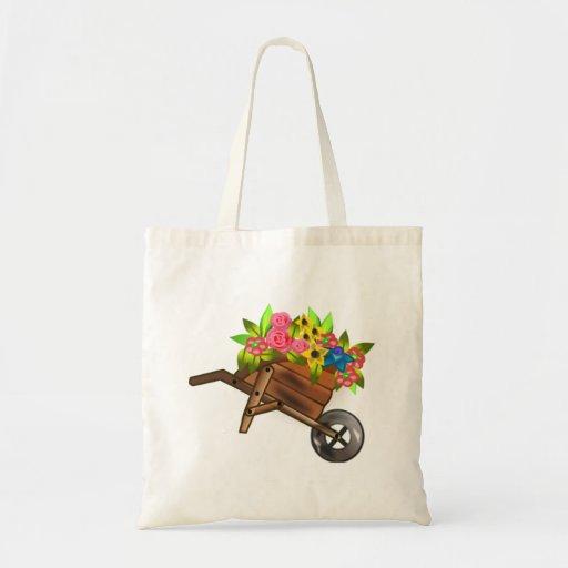 Cheio do carrinho de mão das flores bolsa para compras