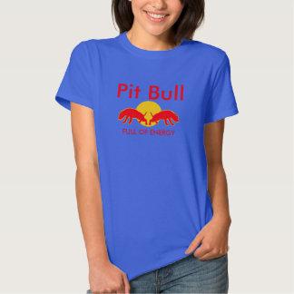 Cheio do pitbull da camiseta do slogan da energia