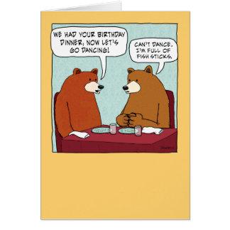Cheio engraçado do urso do aniversário das varas cartão comemorativo