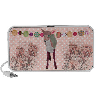 Cherry Blossom Pretty Pink Fawn Doodle Speaker