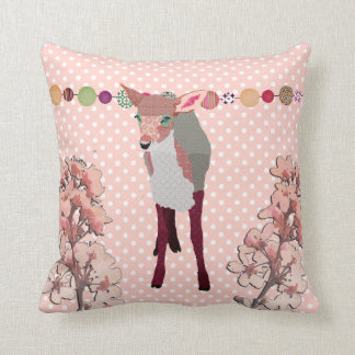 Cherry Blossom Pretty Pink Fawn Throw Pillows