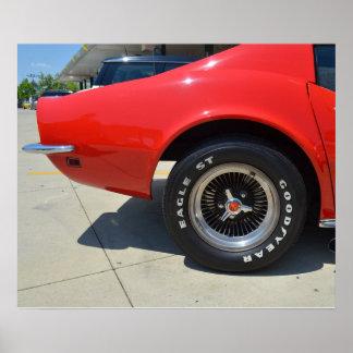 Chevrolet Corvette vermelho bonito C3. Pôster
