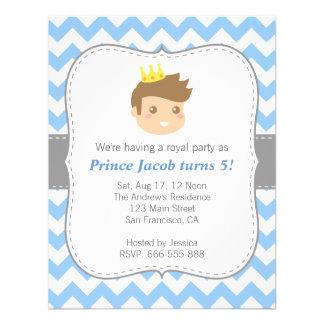Chevron branco bonito do príncipe festa de anivers convite personalizados